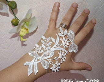 pair of mitten bridal sash ivory lace wedding party