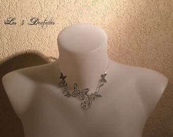 Wedding silver descent sequin flower and Butterfly Necklace