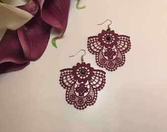 Earrings lace Burgundy wedding earrings * 3 lace *.