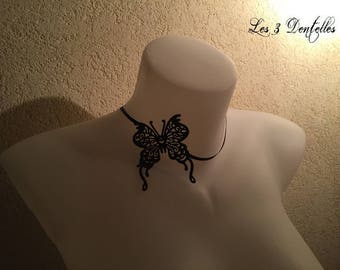 Small tattoo necklace fine black Butterfly * 3 lace *.