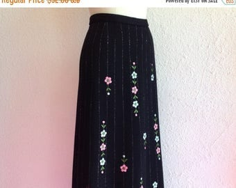SALE 1960s Embroidered black maxi skirt
