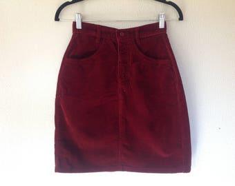 United Colors Benneton burgundy corduroy skirt
