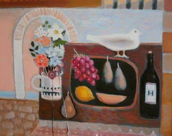 European abstract art modern oil painting still-life signed