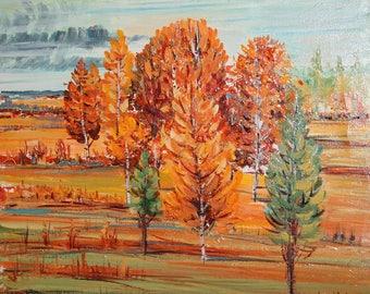 Vintage art impressionist oil painting landscape signed