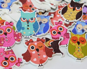 Owl buttons, cute wooden painted owl buttons, sleeping owls, novelty cartoon buttons, card making supplies, button arts and crafts, 24 pcs