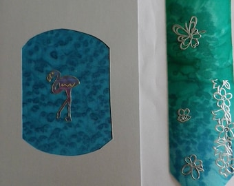 double card set and bookmarks in silk hand painted