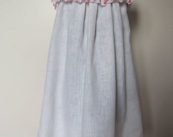 small off white linen girl dress ruffle rose flowers