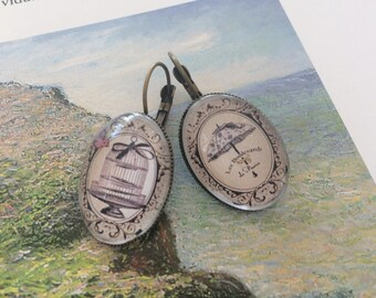 Earrings ' ear lever cage umbrella cabochons
