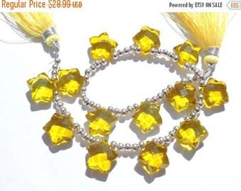 tITLE 12 Pcs AAA Yellow Quartz Faceted Star Shaped Fancy Briolette Size 12 MM