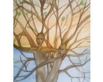 "Symbolic and abstract painting in watercolor ""Roots of love"""