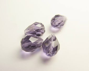 4 FACETED CRYSTAL 8/10 MM AMETHYST CRYSTAL DROPS