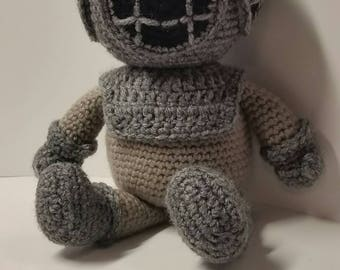 Reserved order Two Crocheted Gray and Gold Deep Sea Diver Dolls