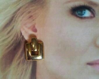 Shiny Door Knocker Earrings gold tone dangle pierced Square chunky earrings Runway earrings jewelry fashion classic style vintage