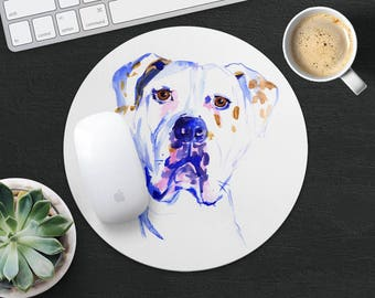 American Bulldog Mouse Pad Dog Mouse Mat Fabric MousePad Round MouseMat Her Gift Watercolor MousePad Cute Mouse Mat Desk Office Supplies