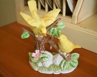1960s Yellow Canary Birds Figurine; measures approximately 6 x 6.25 inches