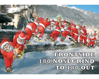SKATEBOARD CHRISTMAS CARD - Frontside 180 nosegrind to 180 out - Funny Christmas card
