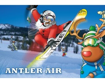 SNOWBOARD CHRISTMAS CARD - Antler Air - Funny Christmas card