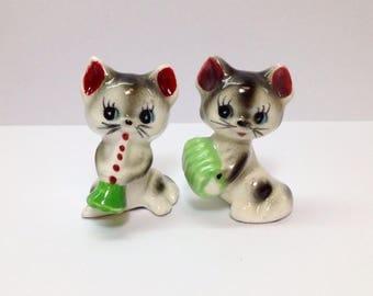 Little Ceramic Cats, Vintage Black White Cat Figurine, Cat Playing Musical Instrument, Miniature Black White Cat Figurine, Kittens, Cat Gift
