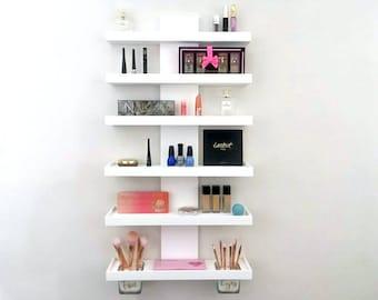 Wall Mounted Makeup Organizer | Tiered Makeup Shelf | Cosmetic Display |  Eye Palette Organizer |