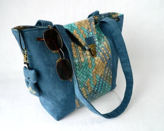 "Suede and faux leather ""Blue and gold"" tote bag"