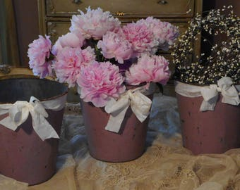 Three SHABBY Vintage 1940's Metal~Tin SAP Buckets~Old Soft Purple Paint~Raw Silk Ribbon~Bows ~ Vermont