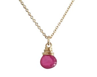 Wife Red Jewelry - Red Jewelry for Girlfriend - Genuine Ruby Necklace Gold - Birthstone Necklace July  - Gold or Sterling Silver