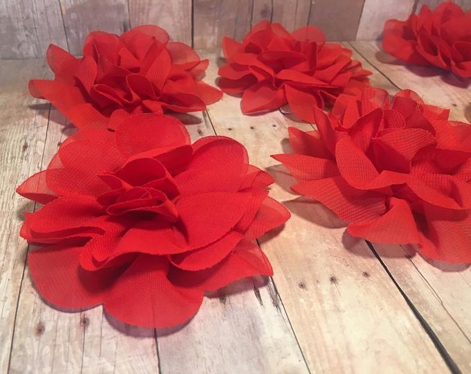 "4"" Red Chiffon Flower | Flower for Dog Collar | Medium/Large Dog | CupcakePups"