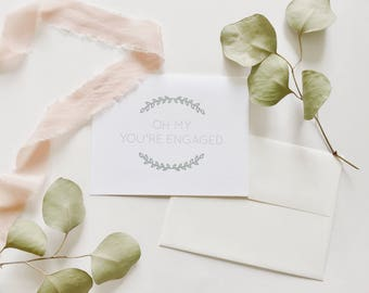 Elegant Wreath Engagement Card | Wreath Congrats Card | Classic Engagement Card | Engagement Congratulations Card | Oh My Bridal Shower Card