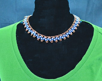 Blue and copper beaded necklace