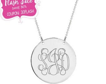 Silver monogram Disc necklace 1/2 inch pendant select any initial made with 925 Sterling silver
