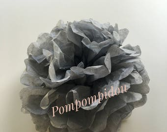 Pack of 2 gray color tissue paper tassels