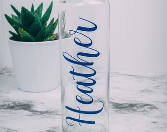 Glass Water Bottle Personalized Monogram 16 ounces gift bridesmaid teacher workout mothers day christmas gifts