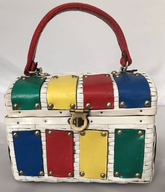Fun and Fab Wicker Bag with Color Leather Patches