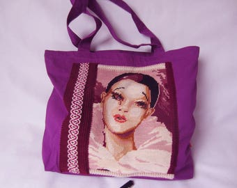Transport bag - Shoulder bag nicely decorated with a vintage tapestry of Pierrot and Colombine