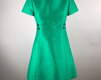 Vintage Vtg 1960s Rona A Line Dress Wool Silk Rhinestone Buttons Emerald Green Size 8