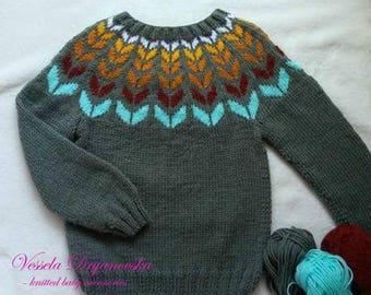 Wool Sweater Icelandic Sweater Nordic Kids Sweater Knit Kids Wool
