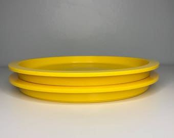 set of two vintage bright yellow Dansk Gunnar Cyren Denmark stackable smaller plates