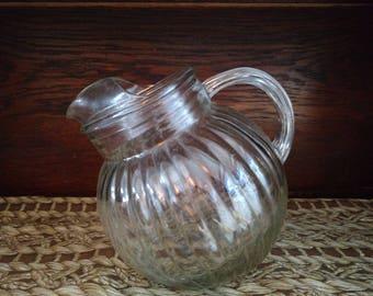 Vintage Glass Tilt Ball Pitcher