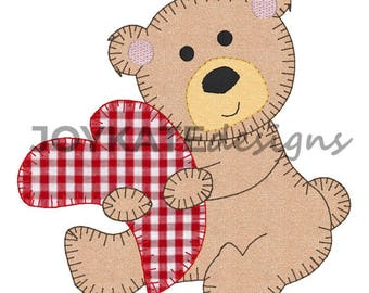 Custom bear valentines appliqué