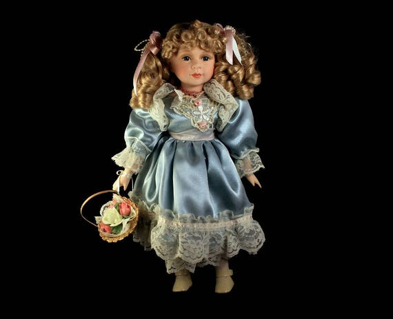 Collectible Porcelain Doll, Angelina, Blonde Doll, 16 inch Doll, Display Doll, Stand Included, Blue Dress, White Lace