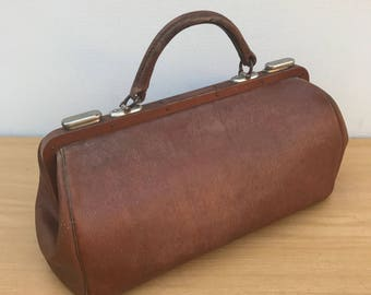 Bag of old doctor Brown + brass Fabrication Francaise Vintage #2