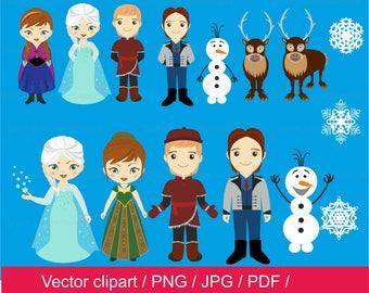 Snow princess clip art, little princess clipart, princess vector, Frozen clip art,  Frozen clipart, pdf, png, princess digital
