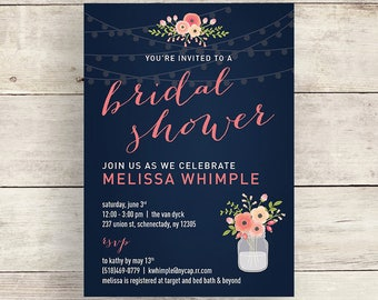 Navy and Coral Flower Bridal Shower Invitation