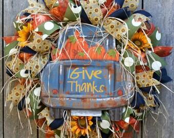 Fall Wreath, Sunflower Wreath, Rustic Wreath, Country Decor, Autumn Wreath for Door, Give Thanks