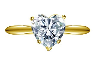 2.0 ct Brilliant Heart Cut Solitaire Engagement Wedding Promise Ring in Solid 14k Yellow Gold