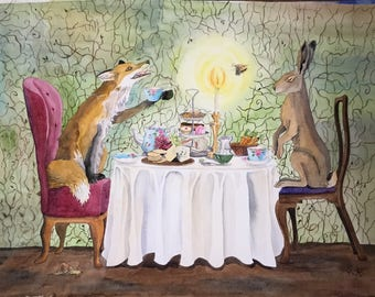 Good Company - Original painting - large A2 watercolour fox and hare