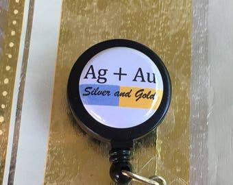 Au periodic table etsy nursing badge reelsilver gold cruise lanyard holderschool professor lab tech au ag urtaz Choice Image