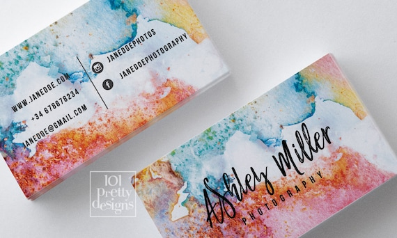 Watercolor business card abstract printable business card design il570xn colourmoves