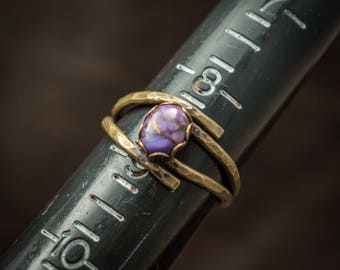Mojave purple turquoise and bronze ring