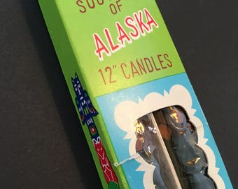 Vintage Souvenir Alaska Totem Pole Candles NIP Not Used 12 Inch Unburned Candles in the Shape of Totem Poles